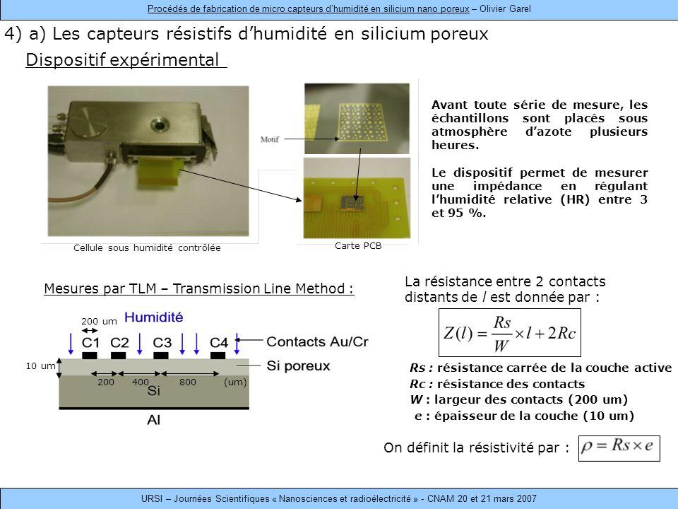 4) a) Les capteurs résistifs d'humidité en silicium poreux