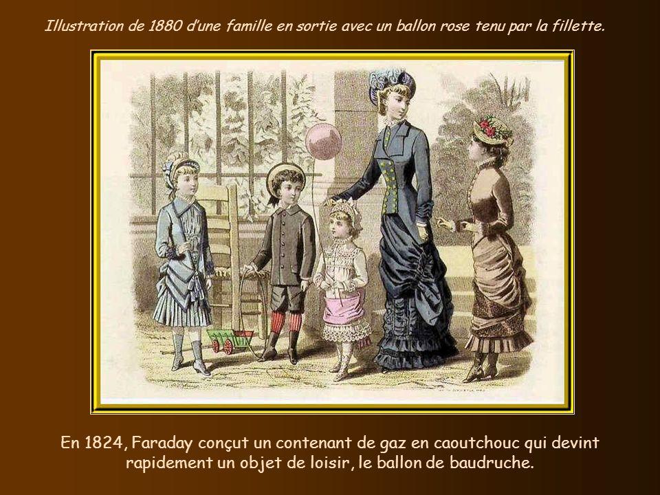 Illustration de 1880 d'une famille en sortie avec un ballon rose tenu par la fillette.