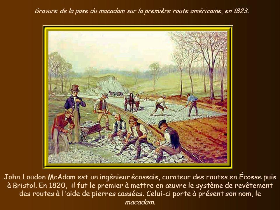 Gravure de la pose du macadam sur la première route américaine, en 1823.