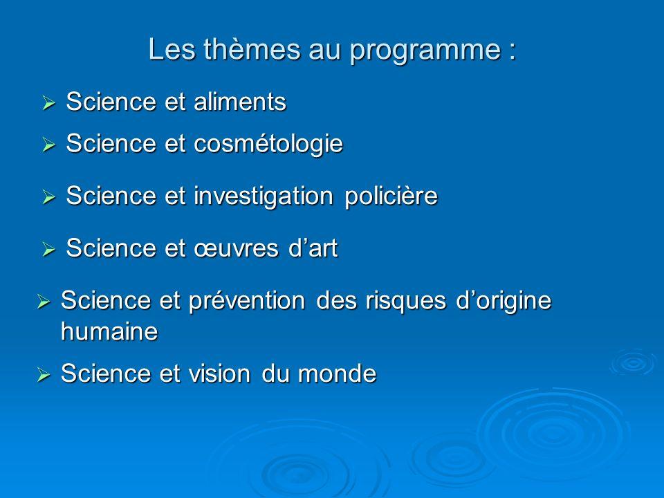 Les thèmes au programme :