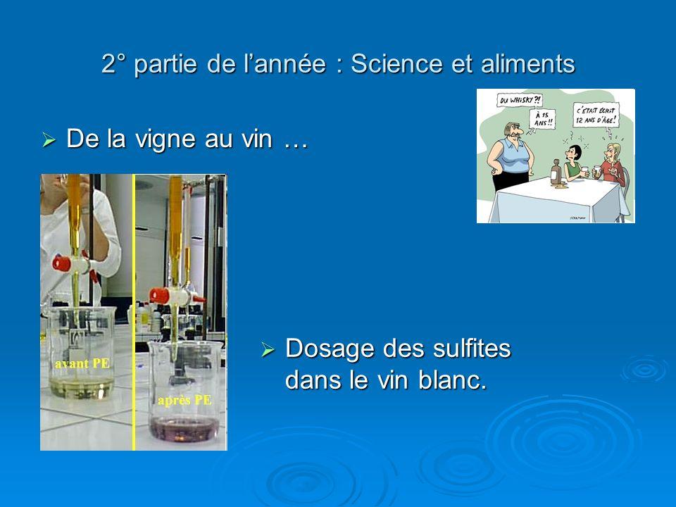 2° partie de l'année : Science et aliments