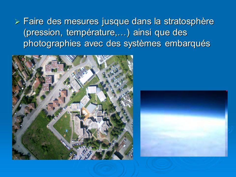 Faire des mesures jusque dans la stratosphère (pression, température,…) ainsi que des photographies avec des systèmes embarqués