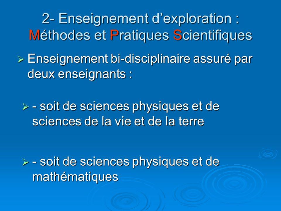 2- Enseignement d'exploration : Méthodes et Pratiques Scientifiques