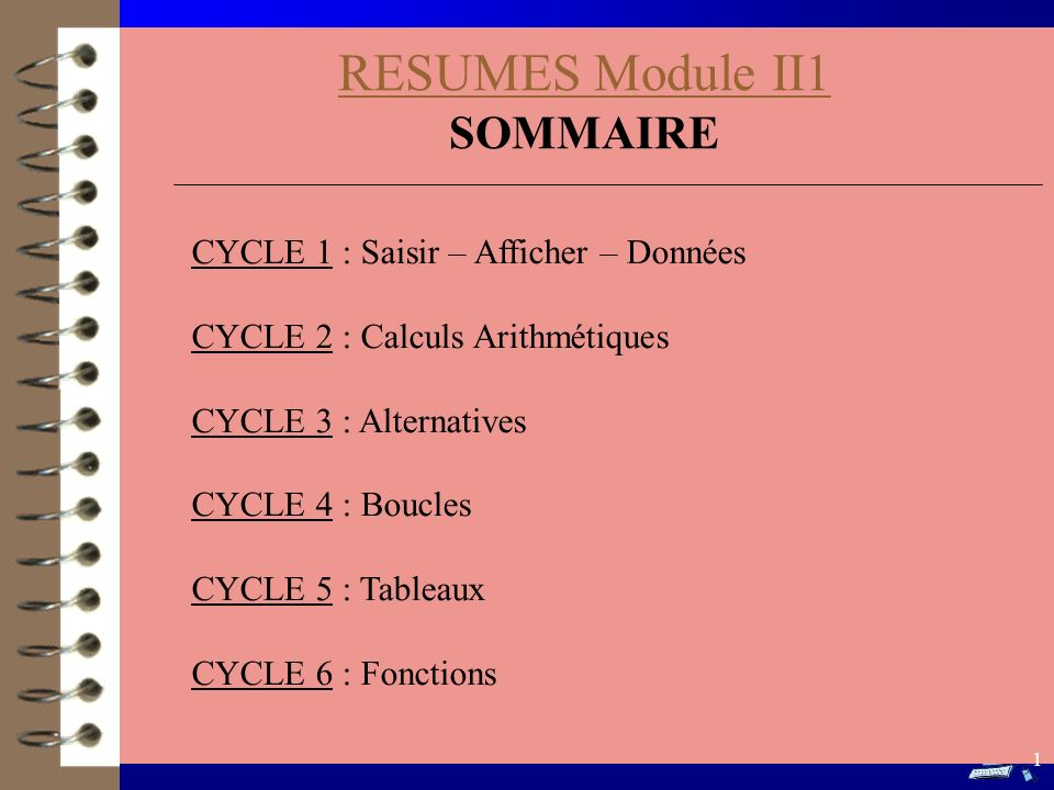 RESUMES Module II1 SOMMAIRE CYCLE 1 : Saisir – Afficher – Données
