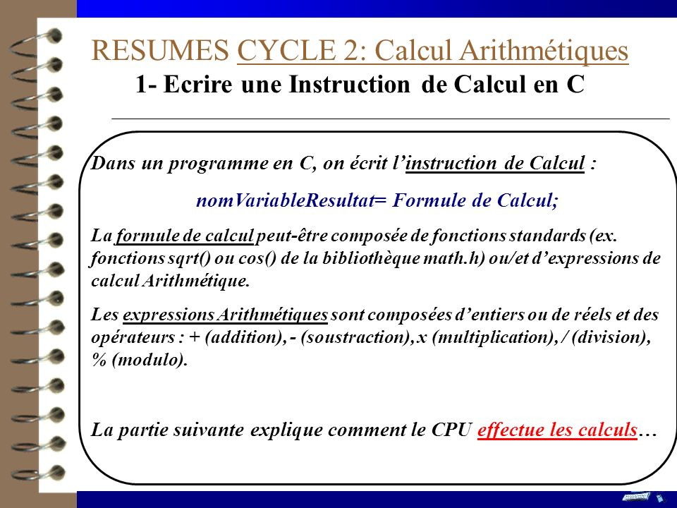 RESUMES CYCLE 2: Calcul Arithmétiques