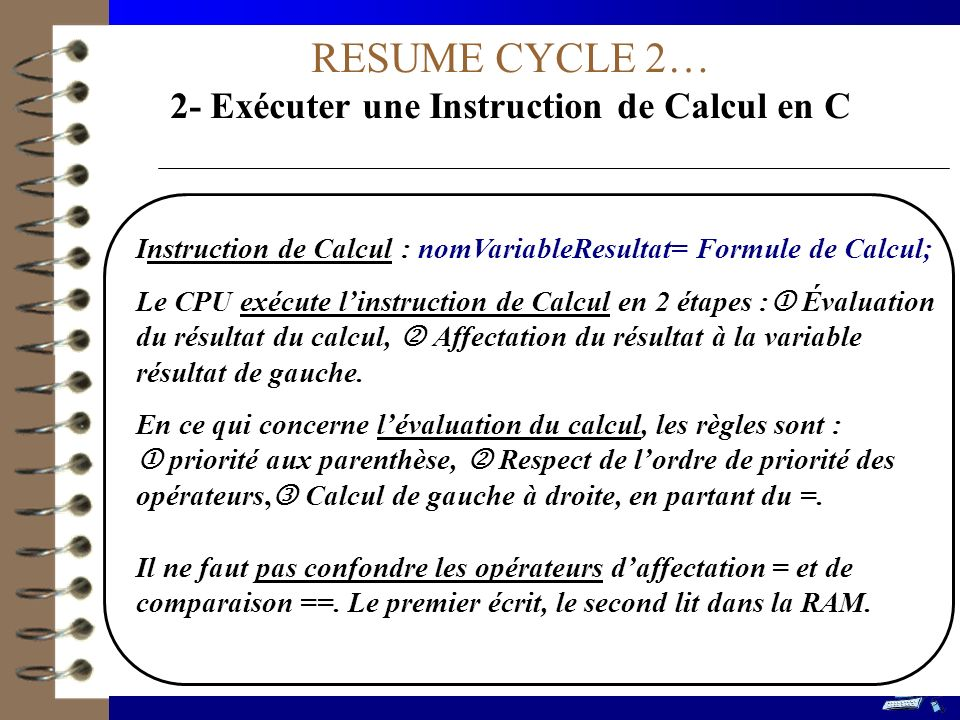 2- Exécuter une Instruction de Calcul en C