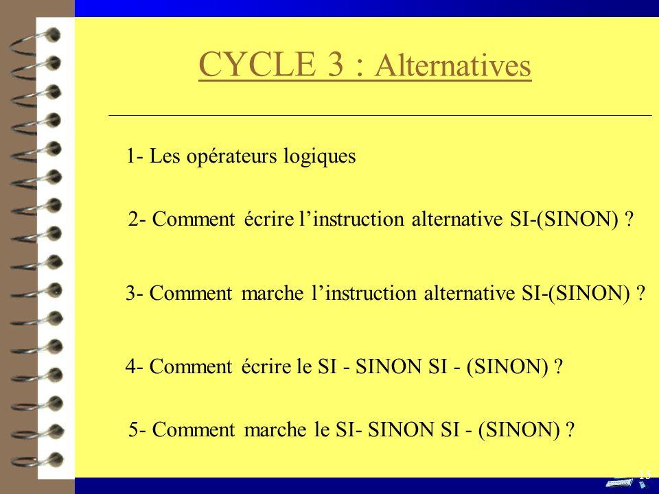 CYCLE 3 : Alternatives 1- Les opérateurs logiques