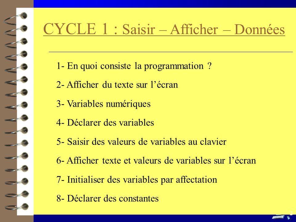 CYCLE 1 : Saisir – Afficher – Données