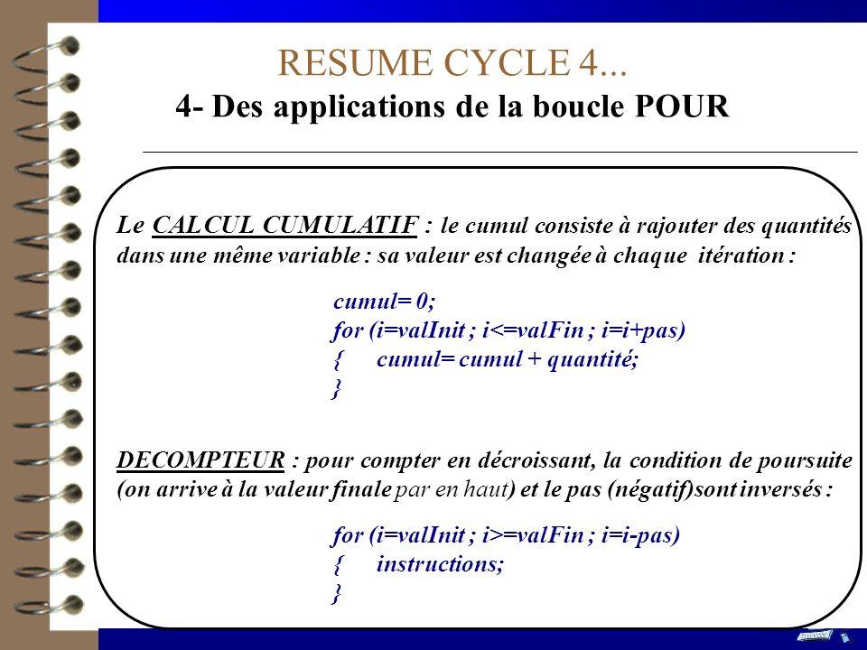 4- Des applications de la boucle POUR