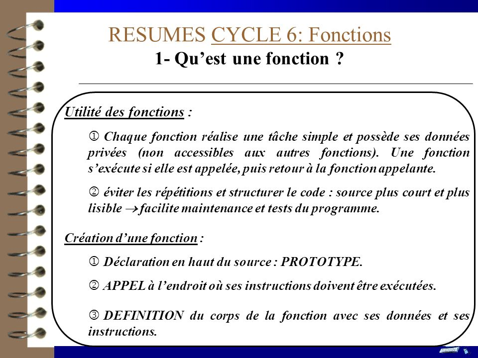 RESUMES CYCLE 6: Fonctions