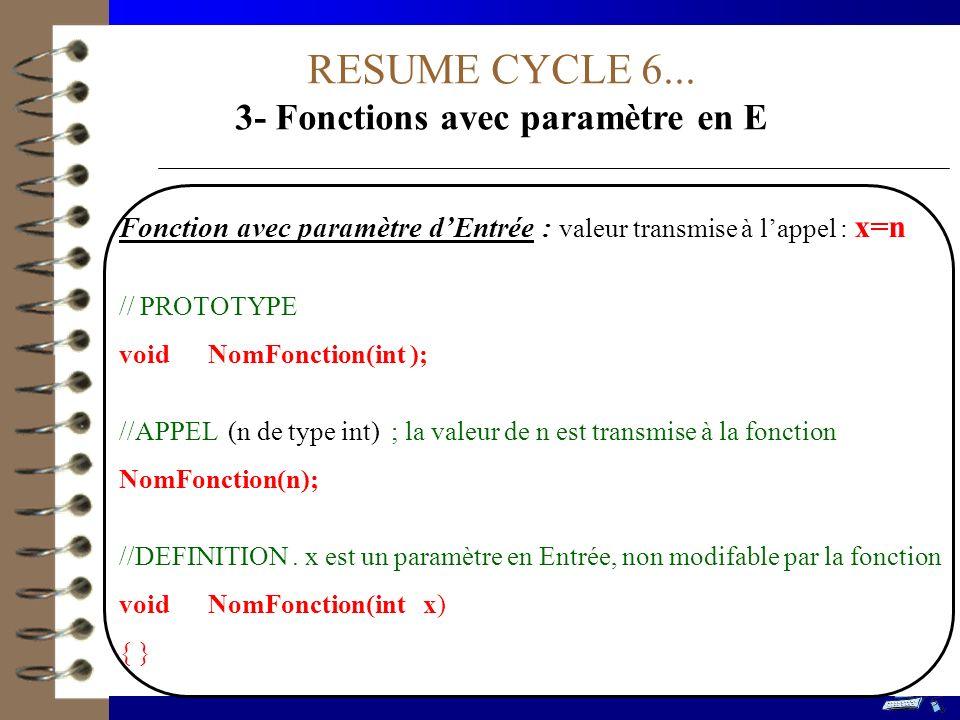 3- Fonctions avec paramètre en E