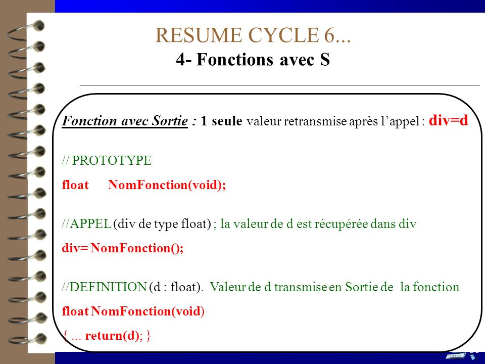 RESUME CYCLE 6... 4- Fonctions avec S