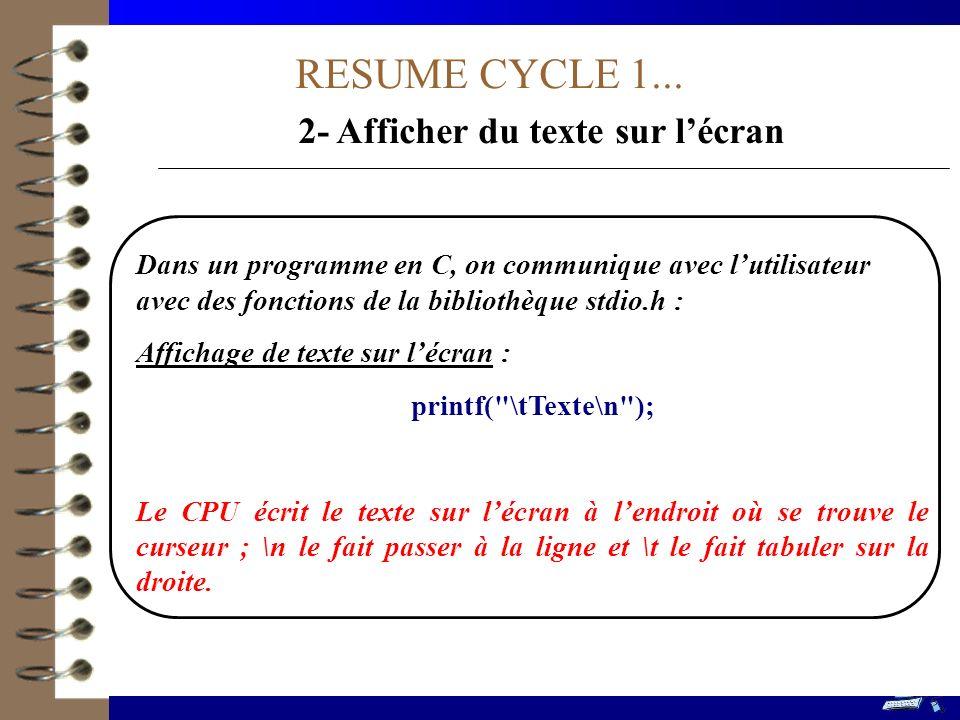 2- Afficher du texte sur l'écran
