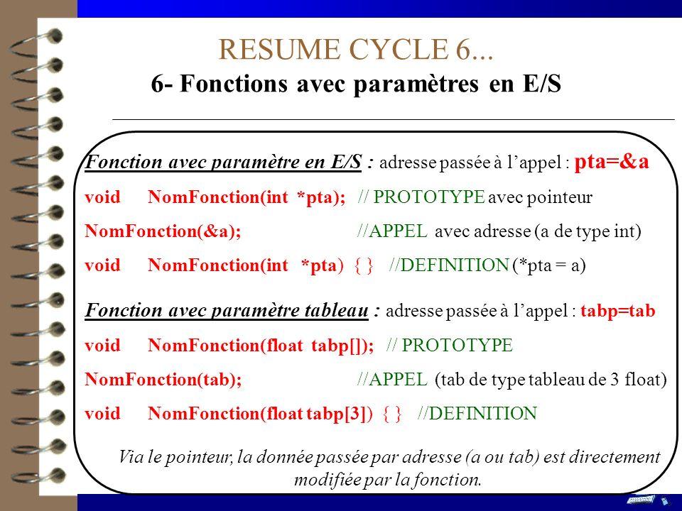 6- Fonctions avec paramètres en E/S