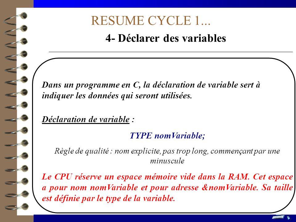 4- Déclarer des variables