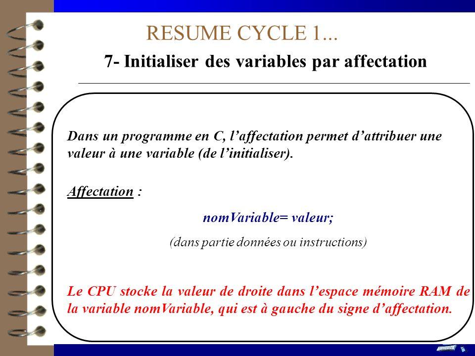7- Initialiser des variables par affectation