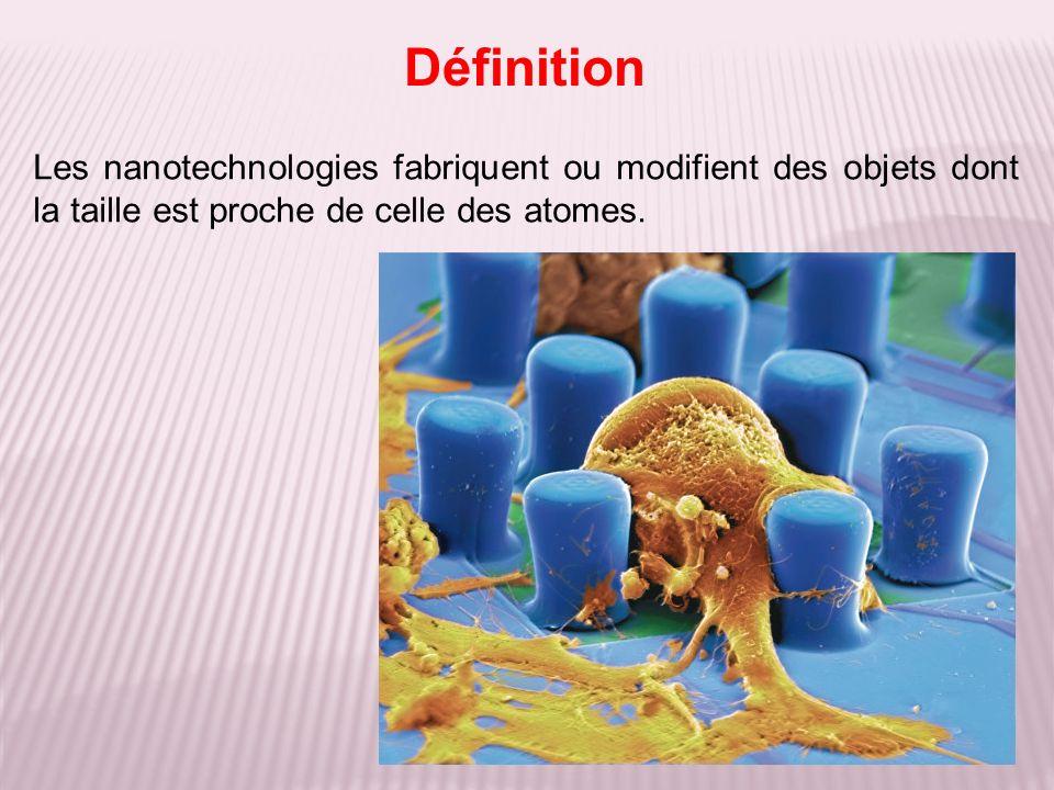 Définition Les nanotechnologies fabriquent ou modifient des objets dont la taille est proche de celle des atomes.