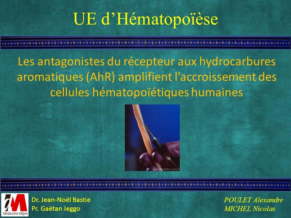 UE d'Hématopoïèse Les antagonistes du récepteur aux hydrocarbures aromatiques (AhR) amplifient l'accroissement des cellules hématopoïétiques humaines.
