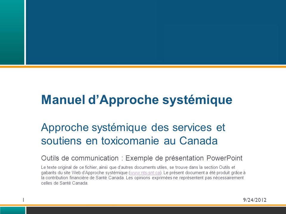 Manuel d'Approche systémique Approche systémique des services et soutiens en toxicomanie au Canada