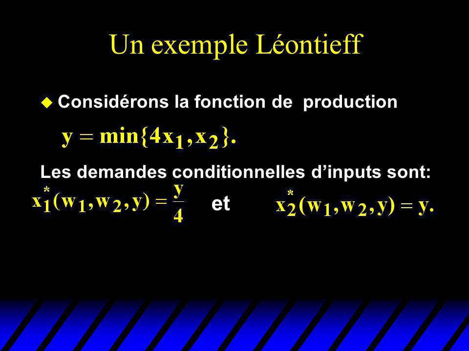Un exemple Léontieff et Considérons la fonction de production