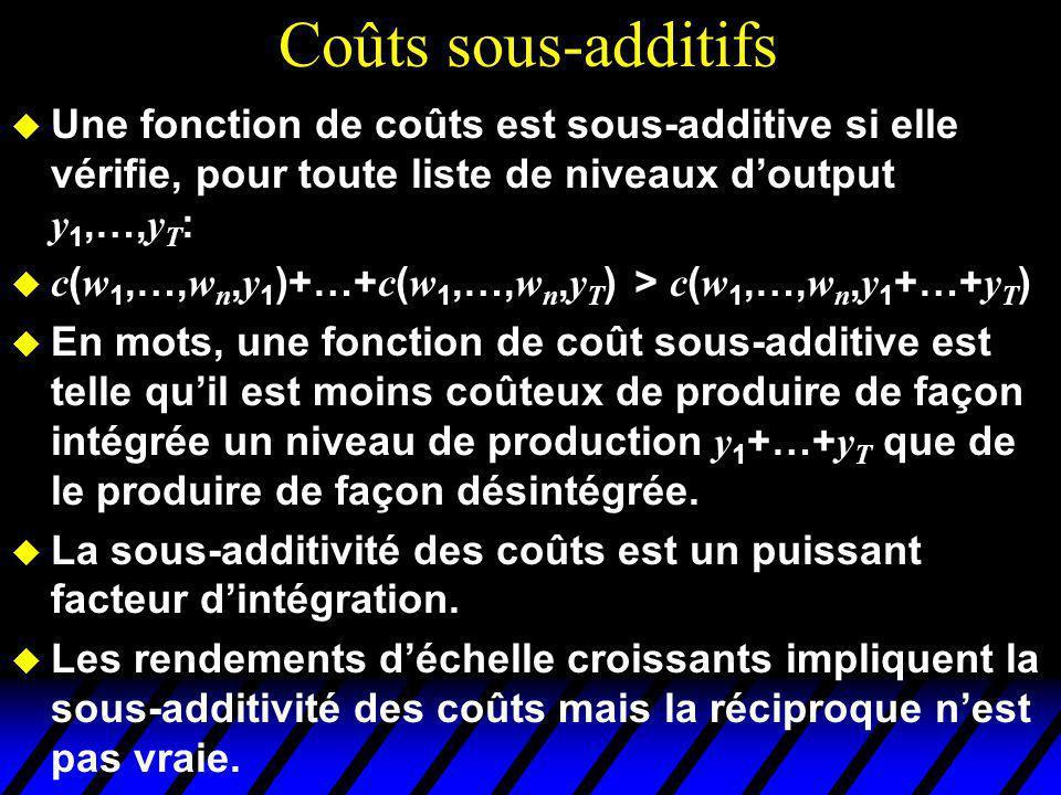 Coûts sous-additifs Une fonction de coûts est sous-additive si elle vérifie, pour toute liste de niveaux d'output y1,…,yT: