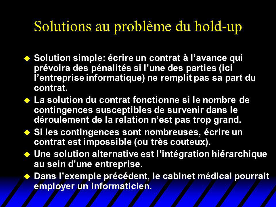 Solutions au problème du hold-up