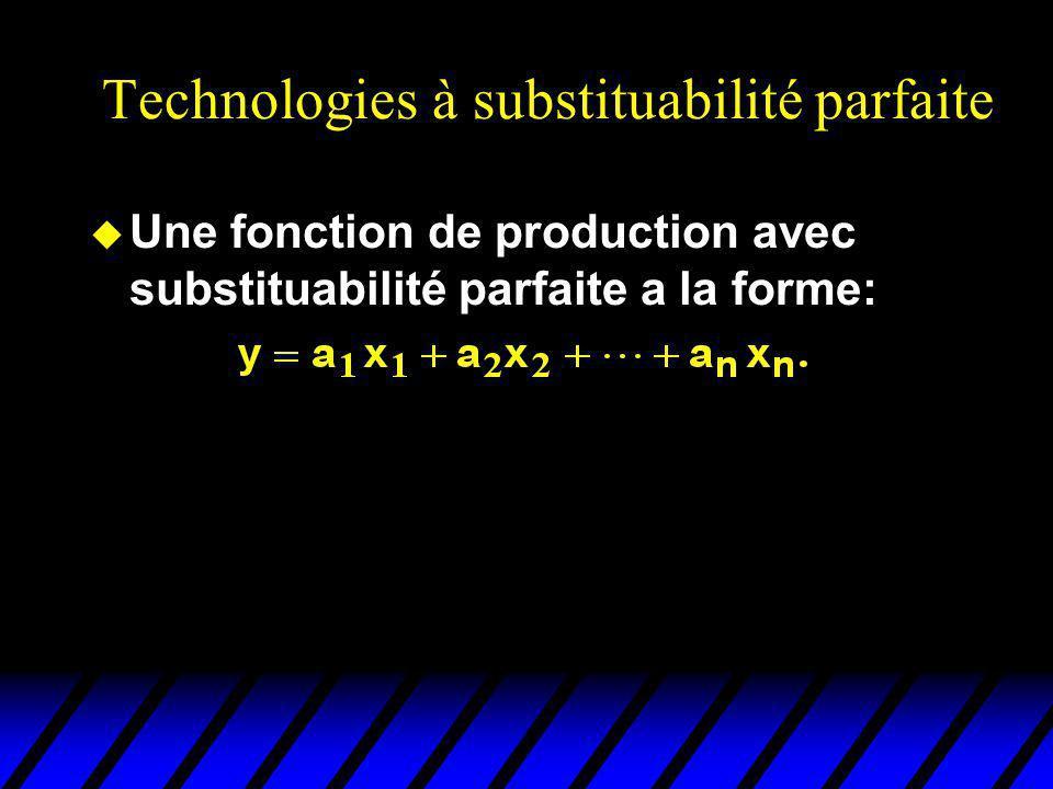 Technologies à substituabilité parfaite