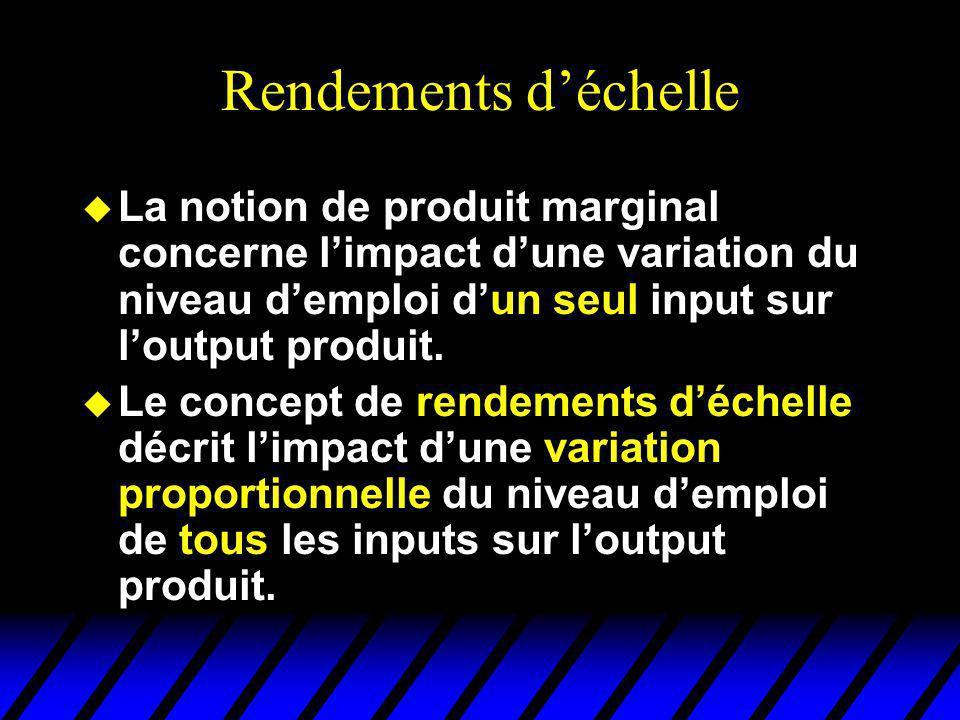 Rendements d'échelle La notion de produit marginal concerne l'impact d'une variation du niveau d'emploi d'un seul input sur l'output produit.