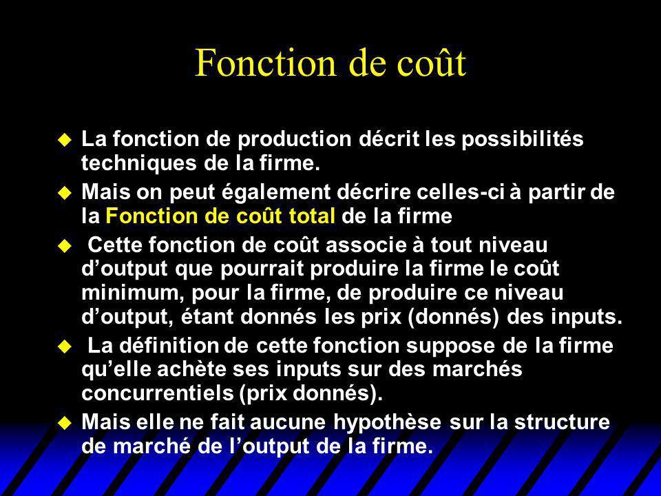 Fonction de coût La fonction de production décrit les possibilités techniques de la firme.
