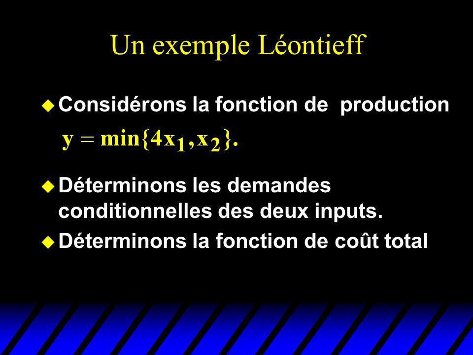Un exemple Léontieff Considérons la fonction de production