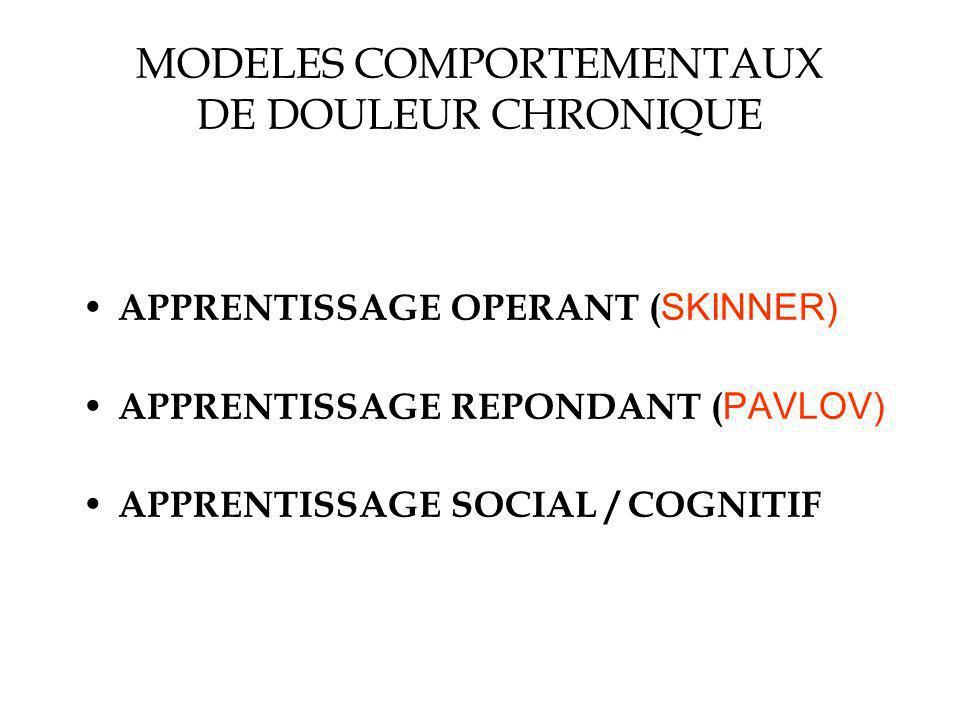 MODELES COMPORTEMENTAUX DE DOULEUR CHRONIQUE