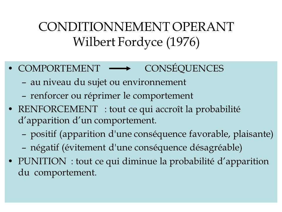 CONDITIONNEMENT OPERANT Wilbert Fordyce (1976)