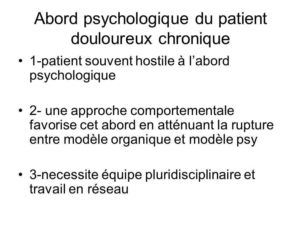 Abord psychologique du patient douloureux chronique