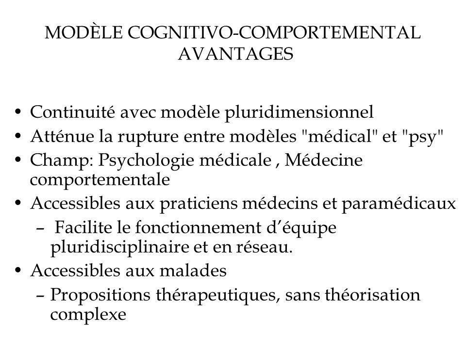 MODÈLE COGNITIVO-COMPORTEMENTAL AVANTAGES