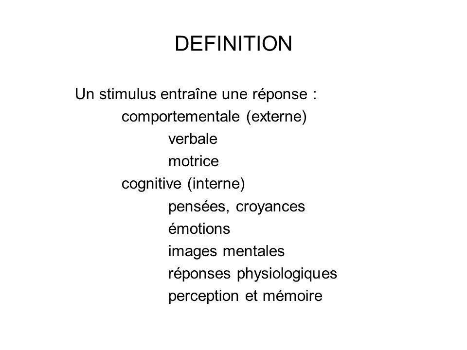 DEFINITION Un stimulus entraîne une réponse :