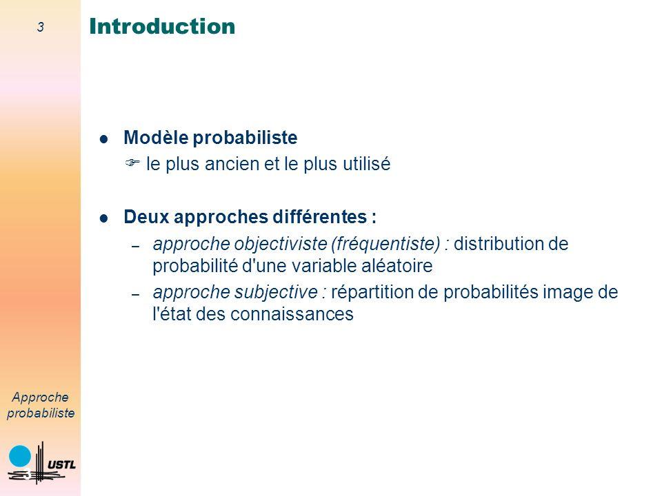 Introduction Modèle probabiliste  le plus ancien et le plus utilisé