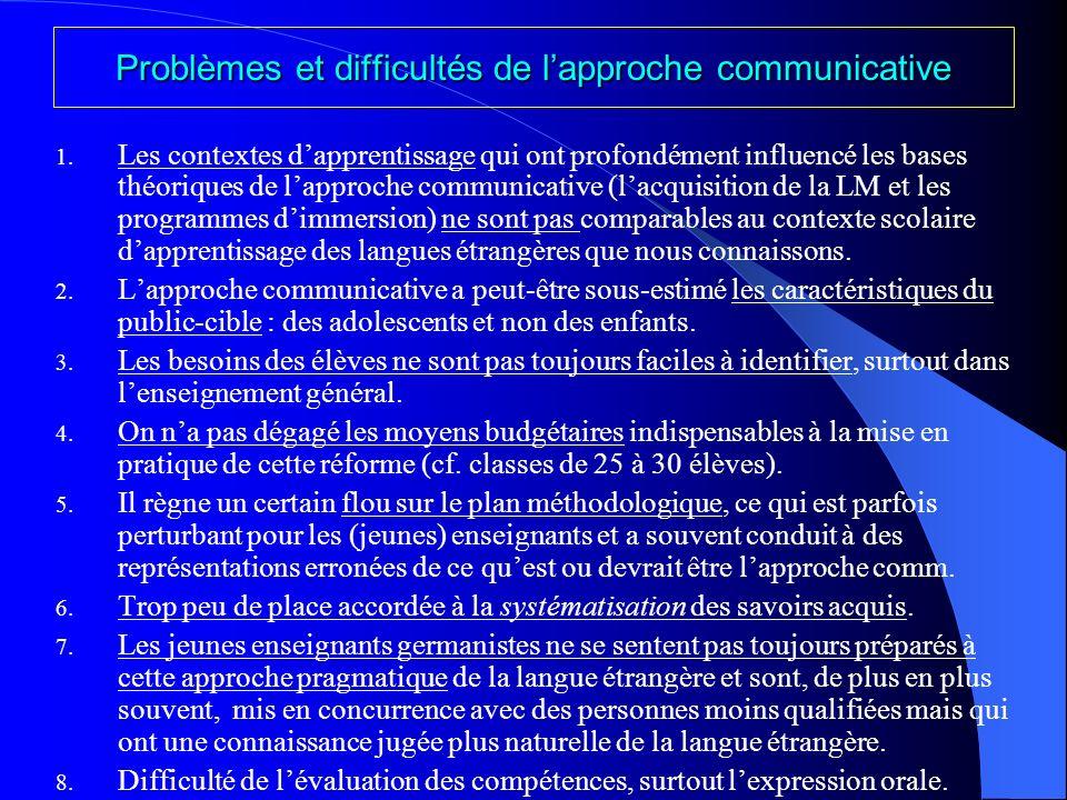 Problèmes et difficultés de l'approche communicative