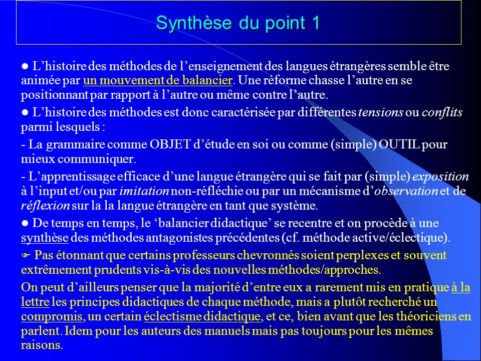 Synthèse du point 1