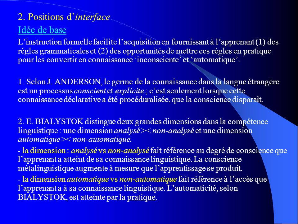 2. Positions d'interface Idée de base