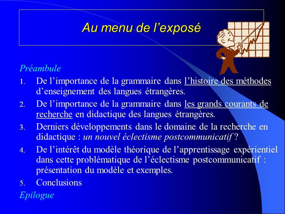 Au menu de l'exposé Préambule