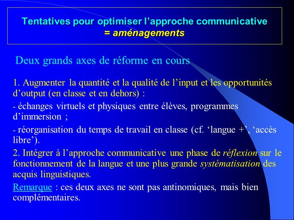 Tentatives pour optimiser l'approche communicative = aménagements