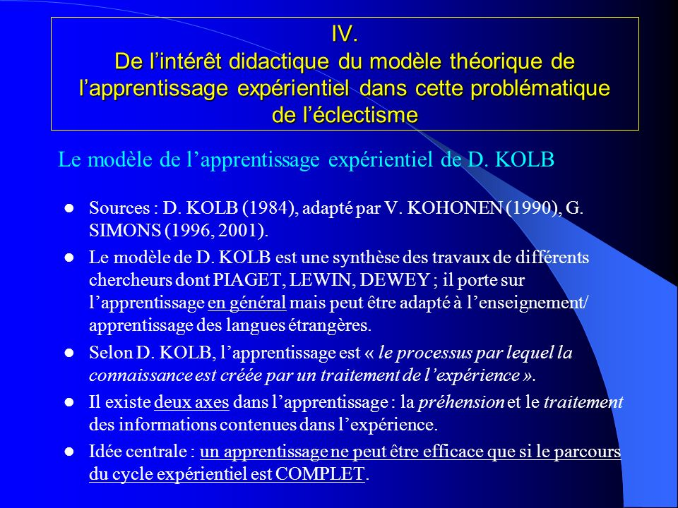 Le modèle de l'apprentissage expérientiel de D. KOLB
