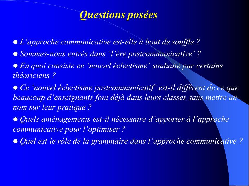 Questions posées L'approche communicative est-elle à bout de souffle