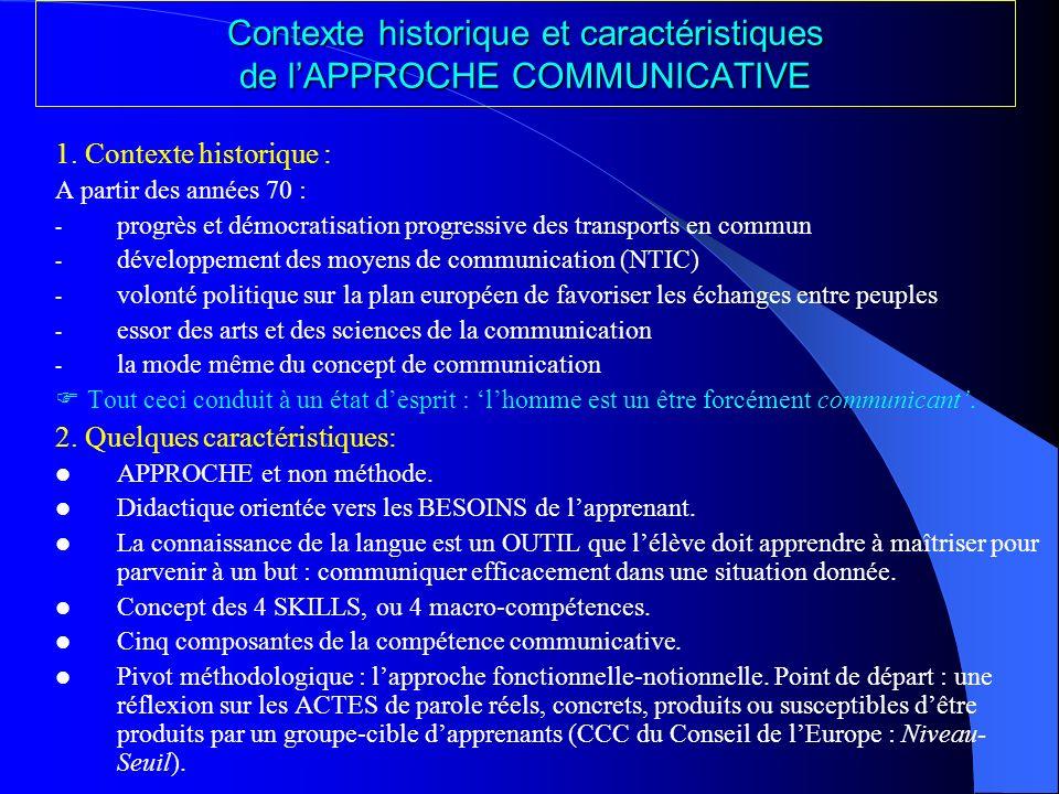 Contexte historique et caractéristiques de l'APPROCHE COMMUNICATIVE