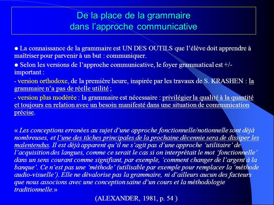 De la place de la grammaire dans l'approche communicative