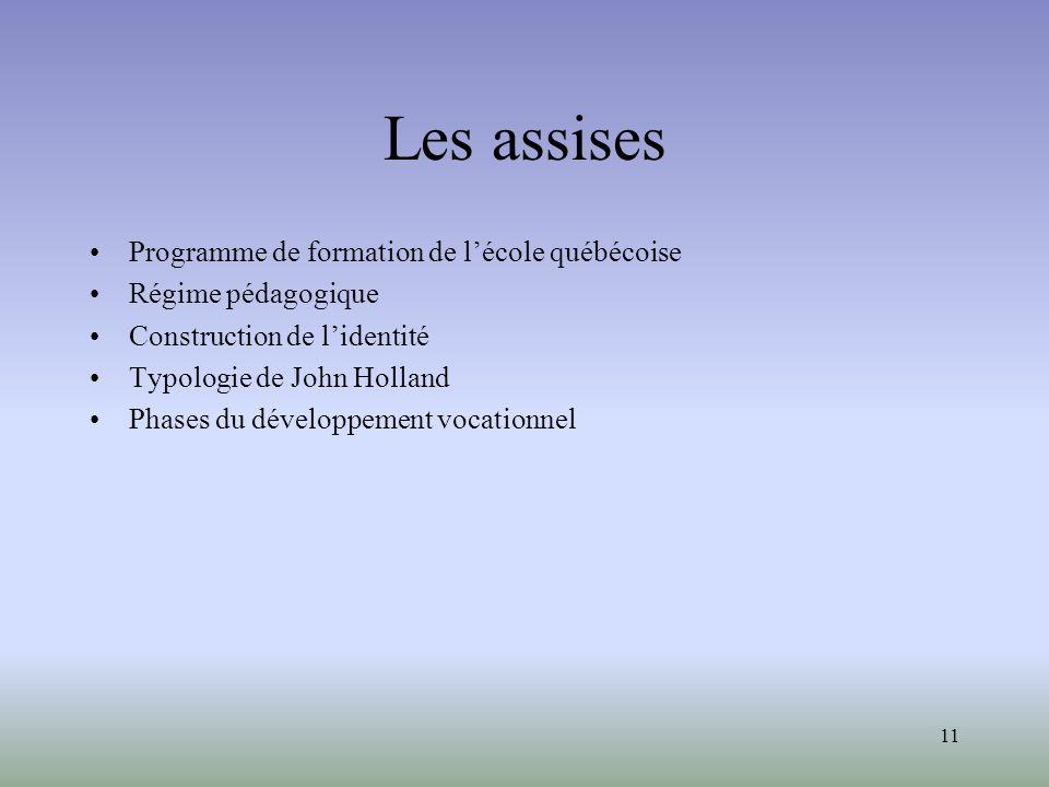 Les assises Programme de formation de l'école québécoise