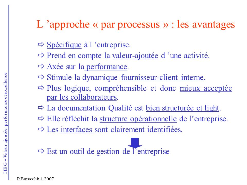 L 'approche « par processus » : les avantages