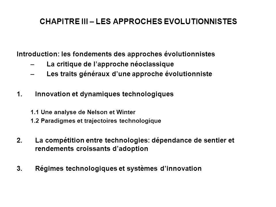 CHAPITRE III – LES APPROCHES EVOLUTIONNISTES