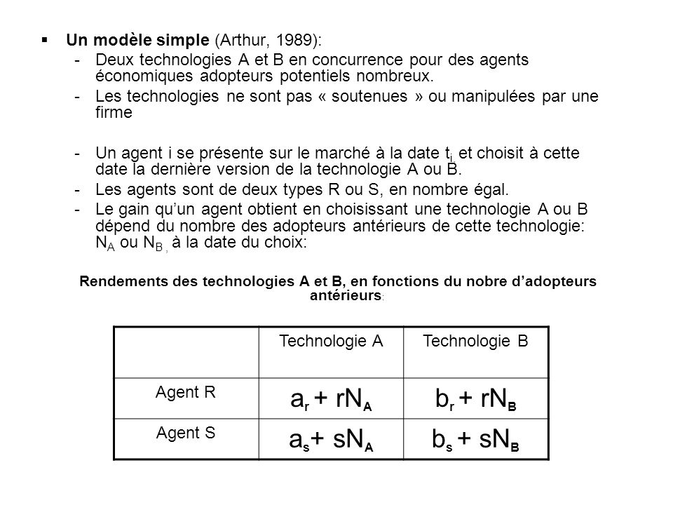 ar + rNA br + rNB as+ sNA bs + sNB Un modèle simple (Arthur, 1989):