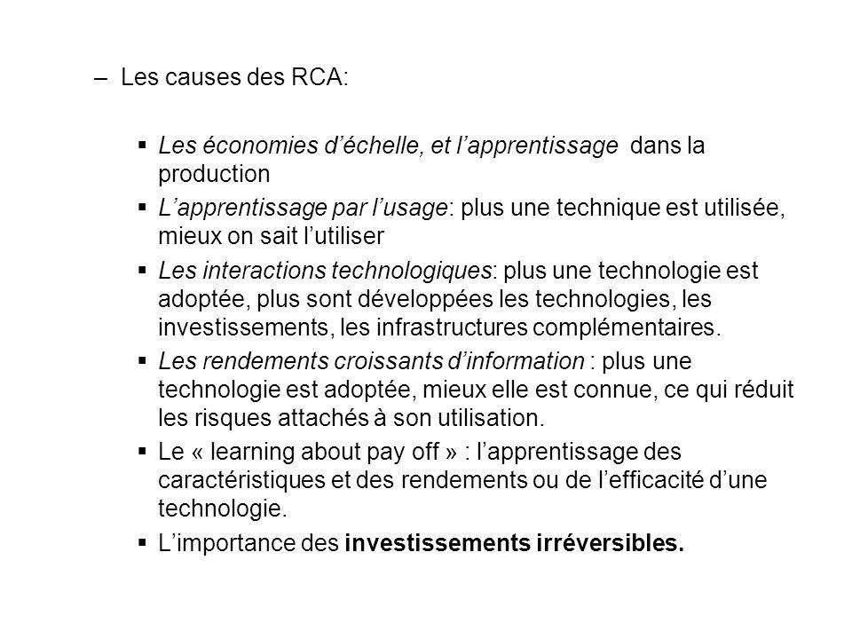 Les causes des RCA: Les économies d'échelle, et l'apprentissage dans la production.